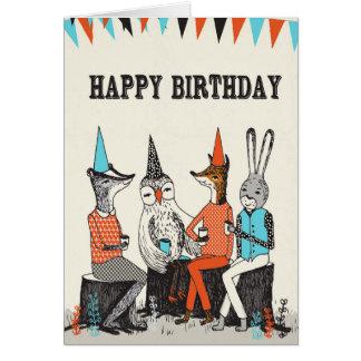 Feliz cumpleaños - saludos lindos de los animales tarjeta de felicitación
