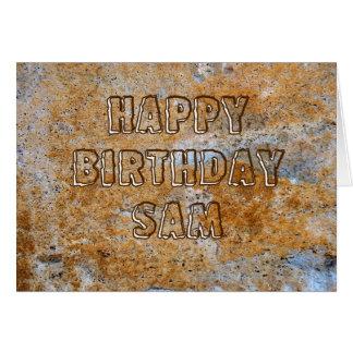 Feliz cumpleaños Sam de la Edad de Piedra Tarjeta De Felicitación
