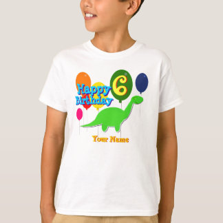 Feliz cumpleaños seis años de los globos de camisas