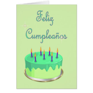 Feliz Cumpleaños Spanish Birthday with cake Card