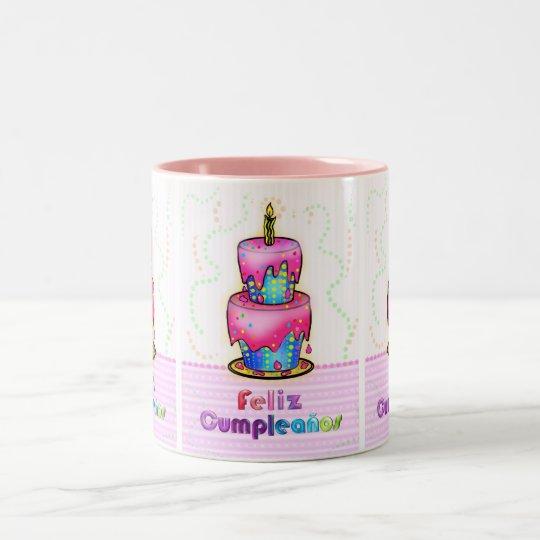 Feliz Cumpleanos Spanish Fun Birthday Cake Gift Two Tone Coffee Mug