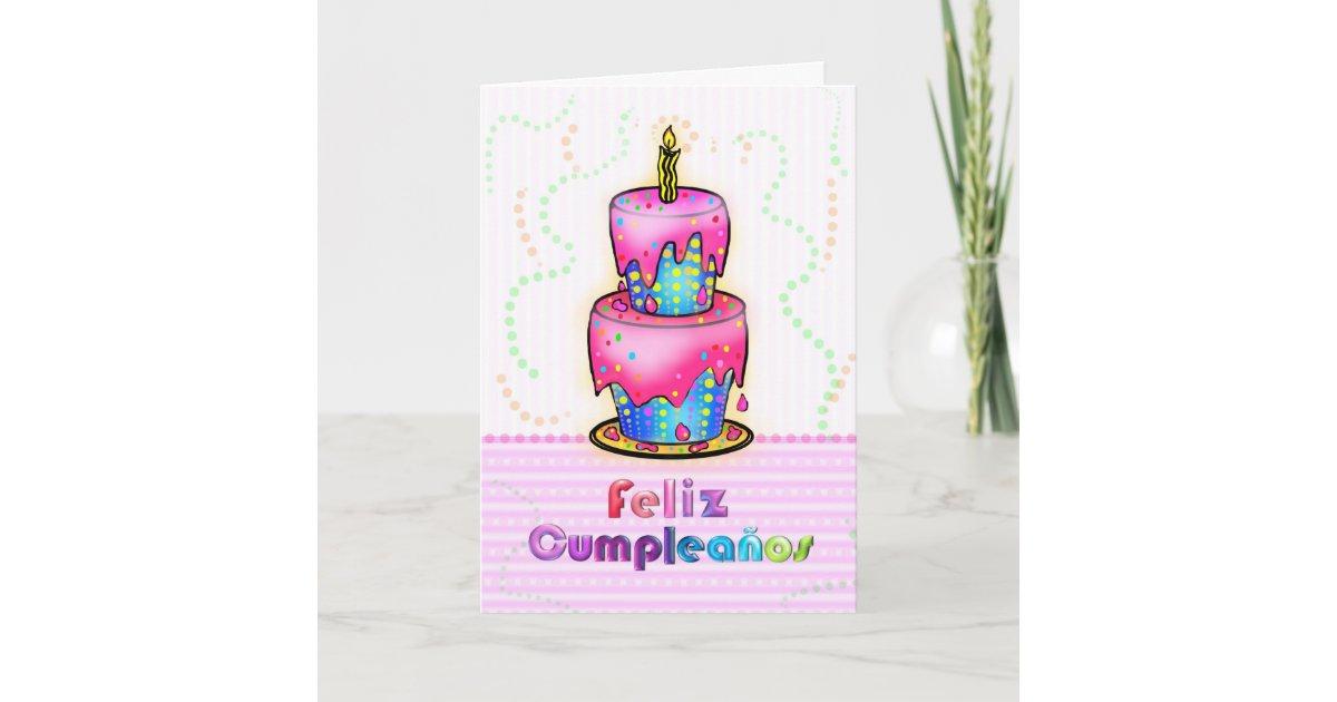 Fine Feliz Cumpleanos Spanish Fun Birthday Cake Pink Card Zazzle Com Funny Birthday Cards Online Inifodamsfinfo