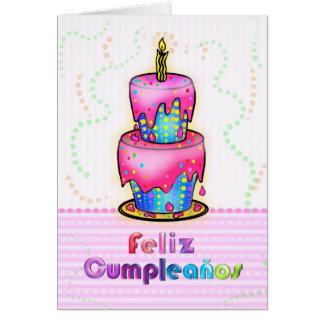 Feliz cumpleaños Spanish fun Birthday Cake pink Greeting Card