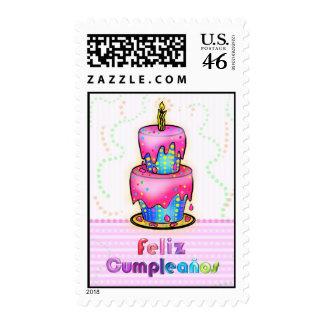 Feliz cumpleaños Spanish fun Birthday Cake stamp