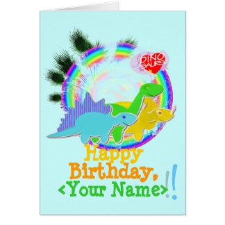 Feliz cumpleaños, su tarjeta conocida de Dinos