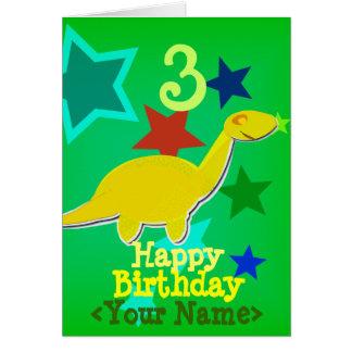 Feliz cumpleaños su tarjeta conocida del dinosauri