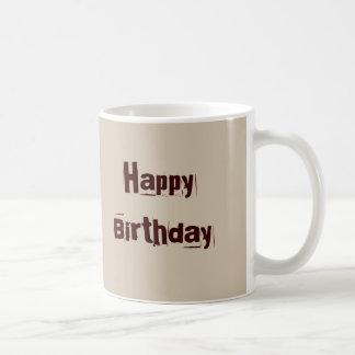 Feliz cumpleaños subió sepia del ramo taza clásica