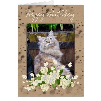 Feliz cumpleaños, tarjeta de cumpleaños con el gat