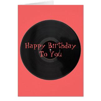 Feliz cumpleaños tarjeta de cumpleaños del disco d