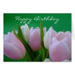 Feliz cumpleaños - tarjeta de los tulipanes