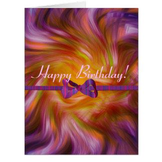 ¡Feliz cumpleaños!  tarjeta púrpura torcida de la