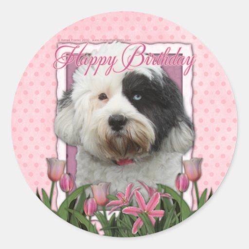 Feliz cumpleaños - Terrier tibetano Pegatina Redonda