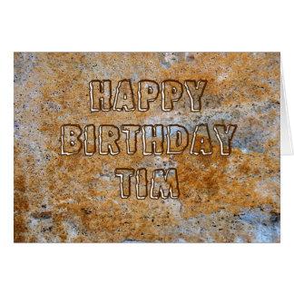 Feliz cumpleaños Tim de la Edad de Piedra Tarjeta De Felicitación
