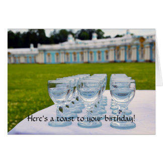 Feliz cumpleaños, tiros de la vodka en el palacio tarjeta de felicitación