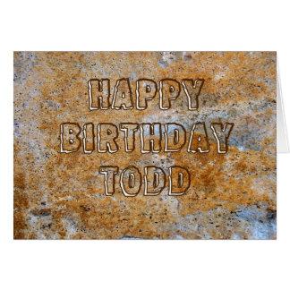 Feliz cumpleaños Todd de la Edad de Piedra Tarjeta De Felicitación