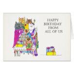 Feliz cumpleaños todos nosotros, caracteres del ga tarjetas