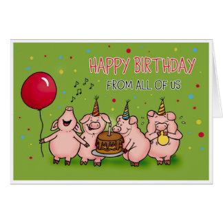 Feliz cumpleaños todos nosotros - tarjeta de cumpl