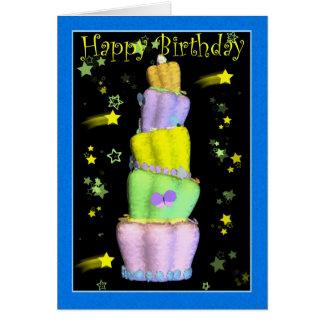 Feliz cumpleaños, torta de cumpleaños tarjeta de felicitación