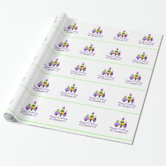 Feliz cumpleaños Torta-Personalizado púrpura Papel De Regalo