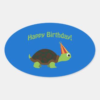 ¡Feliz cumpleaños Tortuga Pegatina De Oval Personalizadas