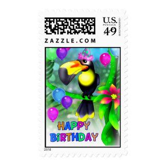 Feliz cumpleaños Toucan Timbres Postales