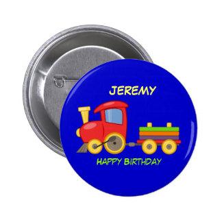 Feliz cumpleaños, tren del juguete, plantilla pin redondo de 2 pulgadas