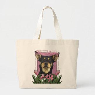 Feliz cumpleaños - tulipanes rosados - Kelpie aust Bolsa
