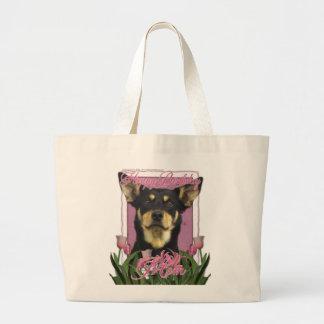 Feliz cumpleaños - tulipanes rosados - Kelpie aust Bolsas