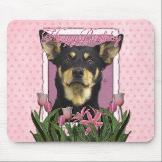 Feliz cumpleaños - tulipanes rosados - Kelpie aust Tapetes De Raton