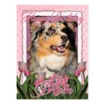 Feliz cumpleaños - tulipanes rosados - pastor aust tarjetas postales