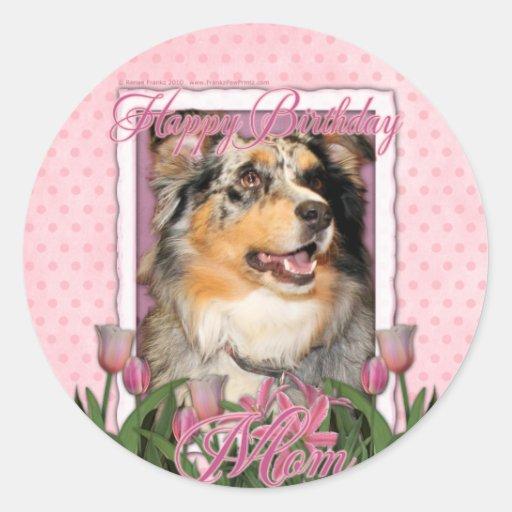 Feliz cumpleaños - tulipanes rosados - pastor pegatinas redondas