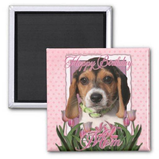 Feliz cumpleaños - tulipanes rosados - perrito del imanes de nevera