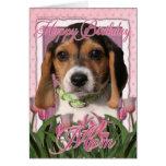 Feliz cumpleaños - tulipanes rosados - perrito del tarjetas