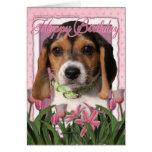 Feliz cumpleaños - tulipanes rosados - perrito del felicitación