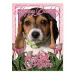 Feliz cumpleaños - tulipanes rosados - perrito del postales