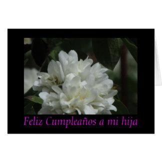 Feliz Cumpleaños un hija del MI - Blanca de Flor Tarjeta De Felicitación
