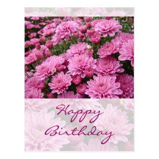 Feliz cumpleaños - un mar de los crisantemos rosad postales