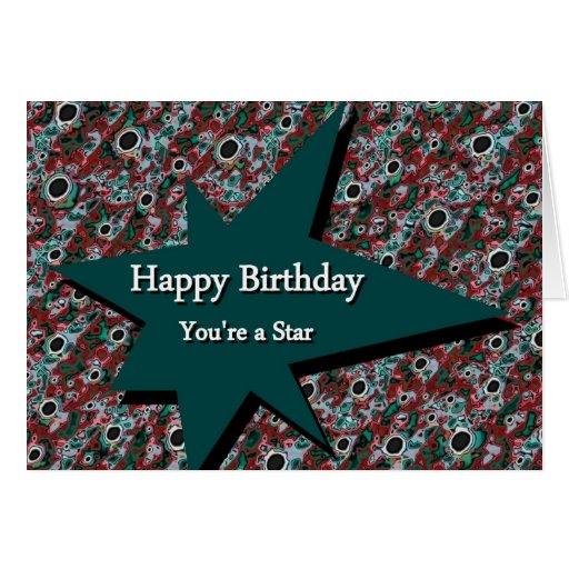 Feliz cumpleaños usted es una estrella tarjeta de felicitación