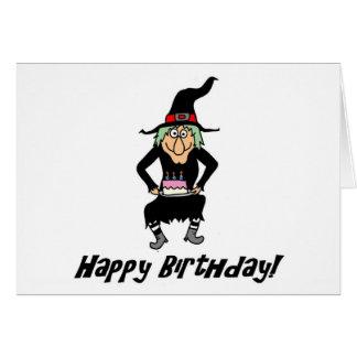Feliz cumpleaños usted tarjeta vieja de la bruja