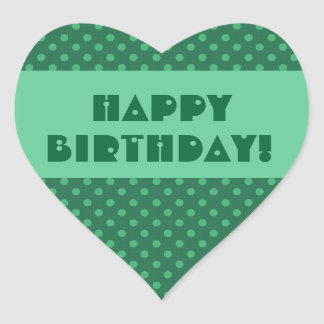 Feliz cumpleaños V4 de los lunares verdes Pegatina En Forma De Corazón