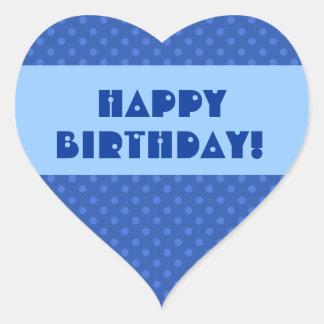 Feliz cumpleaños V5 de los lunares azules Pegatina En Forma De Corazón