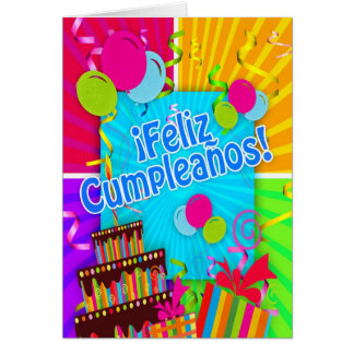 ¡Feliz Cumpleaños with fun colors balloons stream Greeting Card