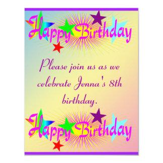 """Feliz cumpleaños y estrellas - invitación 4.25"""" x 5.5"""""""