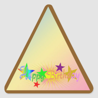 Feliz cumpleaños y estrellas - pegatina triangular