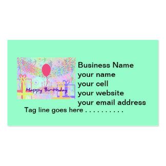 Feliz cumpleaños y recuerdos un impulso tarjetas de visita