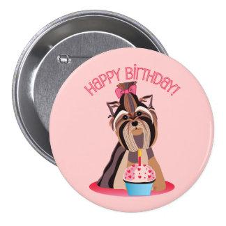 Feliz cumpleaños Yorkie Pins