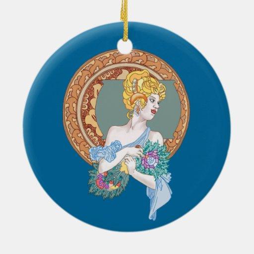 Feliz danza de fan del minué/del fanático ornamento para arbol de navidad