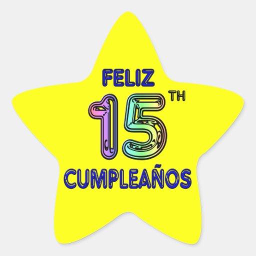 Feliz décimo quinto Cumpleaños Pegatina En Forma De Estrella