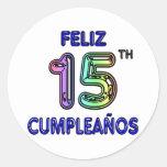 Feliz décimo quinto Cumpleaños Pegatina Redonda
