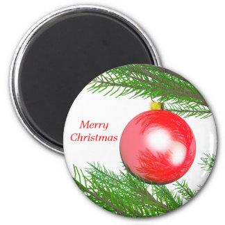 Feliz decoración del árbol de navidad imán redondo 5 cm